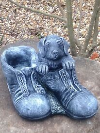 Puppy in boots planter solid concrete