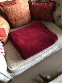 Burgundy fleece blanket / throw