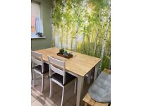 Dining table, 2 benches and 2 chairs