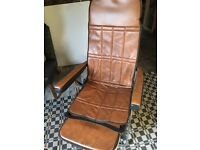 70s pair retro reclining garden chairs chrome leatherette