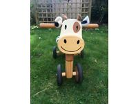 Wooden ride-on cow
