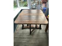 Vintage solid oak dining table and 4 chairs