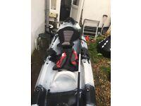 2 man Kayak including life jacket paddles and trolley