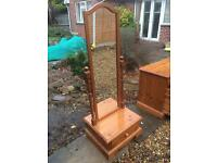 Lovely solid pine full length mirror with drawer.