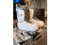 Womens White Burton Snowboarding Boots (size 4)