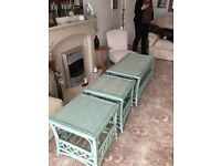 Green cane conservatory coffee table and side tables