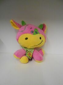 New Pink and yellow plush toy with tag