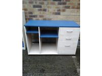 Blue and white desk/workstation with 3 drawers ideal for kids bedroom