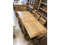 1.8m extending 8 seat oak dining table