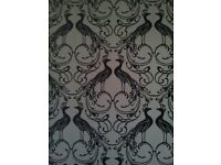 Luxury and decadent flock WALLPAPER - embossed velvet peacock design (1.5 rolls)