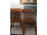 2 x Wooden chairs , solid pine , good condition and quality feel free to view