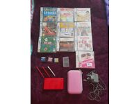 Red Nintendo DS & 13 Cased Games & Accessories