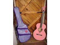 Pink Acoustic,Three Quater Guitar.
