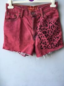 Levi Pink and Leopard Print Denim Shorts