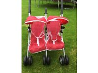 Girls silver cross toy double buggy