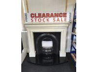MARBLE FIREPLACE + GRANITE CURVED HEARTH + INSET + FREE FAST DELIVERY stoves and flues in store