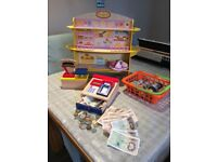 Wooden Role Play shop with wooden till, scales, food, baskets and money