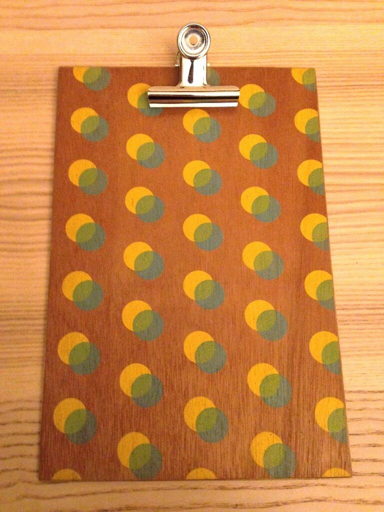 """""""Ding Ding"""" Wooden Patterned Painted Clipboardin StirlingGumtree - """"Ding Ding"""" Wooden Patterned Painted Clipboard with metal bulldog clip. This clipboard is best suited to A5 sized paper. This item can be posted if the buyer wishes to cover postage costs. Get in touch with any questions!"""