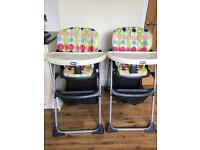 2 x Chicco High Chairs