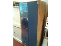 malibu 2 door 3 drawer mirrored wardrobe blue on pine