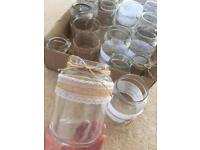Large Tray of hand decorated glass jars.