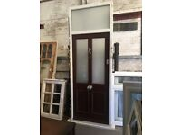 High quality contemporary wooden door with window above