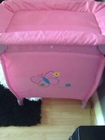 Hauck play travel cot pink butterfly theme