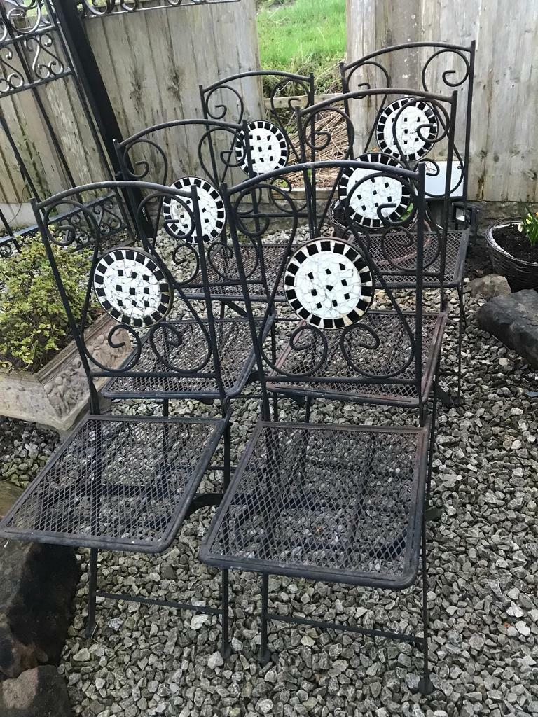 Set six perfect iron vintage garden chairs