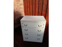 4 drawer cream wood chest of drawers