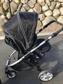 Britax B-Dual black pram, carrycot and car seat