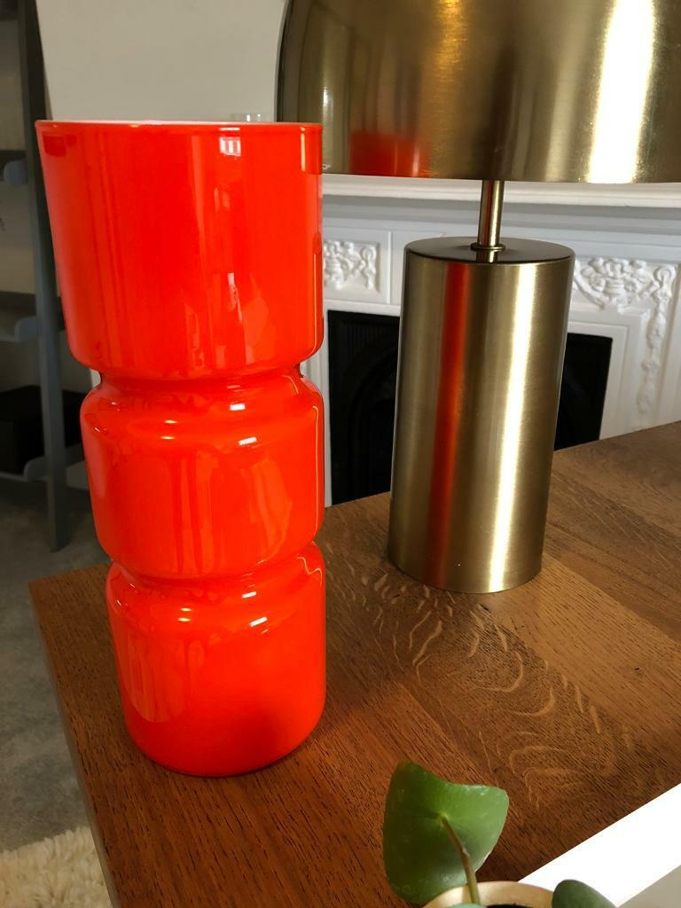 Fitz Glass Table Lamp For Bedroom And Living Room Orange Colour