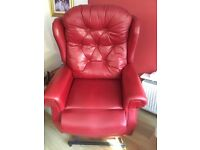 Red Leather Recliner Riser Chair