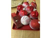 Red snowy baubles with 5m red beads