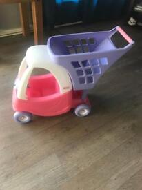 Little tikes shopping trolly with dolls car