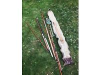 Vintage fishing rods and accessories