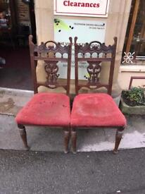 Pair of antique chairs for reupholstering £30