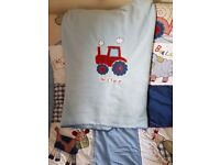 Busy tractor .. boys cotbed bedding set.