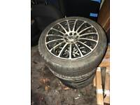 Wolfrace 17inch multifit alloys with tyres