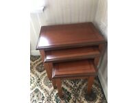 Cherrywood nest of 3 side tables