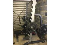 Olympic weights bench and squat rack