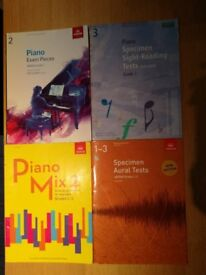Various piano music books for grades 1, 2, 3