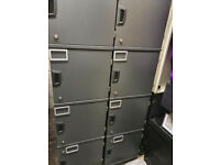 Kinnarps Office lockers 4 high, 400MM deep and 400mm wide, dark grey