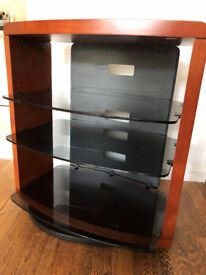 Media console unit, wood & glass on rotating base