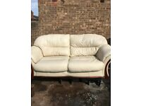 Cream Leather Sofa with Matching Armchair