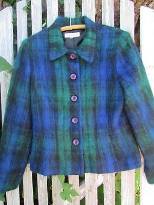 Anne Bowen Made in USA fuzzy mohair plaid blazer jacket sz 6 EUC blue green WARM