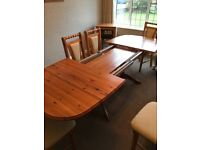 Pine dining room dresser, cabinet, table and 6 chairs