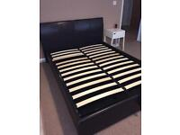 Double Faux Leather Storage Bed