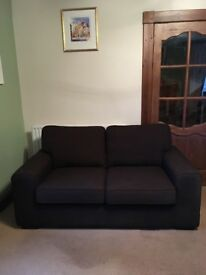 Brown fabric 2 seater DFS sofa