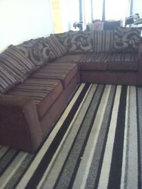 BROWN AND SILVER REVERSABLE CORNER COUCH