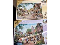 A collection of 10 used Jigsaw puzzles. All 1000 pieces of various scenes, in good used condition.